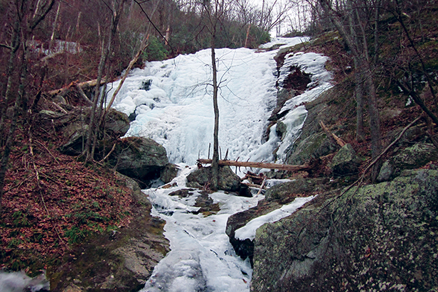 Crabtree Falls frozen in winter
