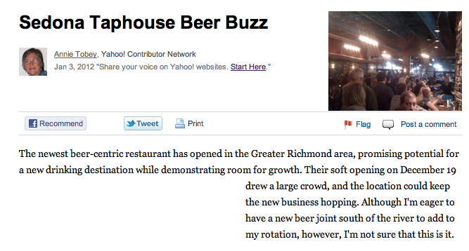 Sedona Taphouse on Yahoo